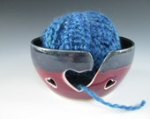 Ceramic Yarn Bowl / Pottery Knitting Bowl Hearts in Dark Blue and Cranberry