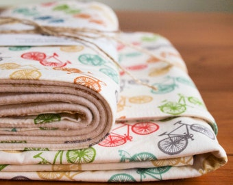 Bicycle Baby Gift, Organic Blanket and Burp Cloth Gift Set in RIDE; Handmade, Eco-Friendly Multicoloured Bike, Bicycle Organic Baby Gift Set