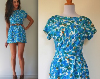 Vintage 50s 60s Blue Floral Mini Dress (size small, medium)
