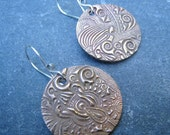 Artisan Handmade Bronze and Sterling Silver Round Mixed Metal Earrings dangle earrings textured earrings boho tribal rustic gold and silver