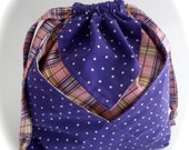 Large Purple Polka Dotted Origami Drawstring Pouch FREE USA Shipping