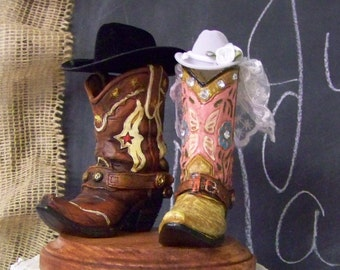 Rustic Cake Topper-His and Her Western Cowboy Boots-Wedding Cake Topper-Barn Wedding