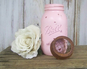 Mason Jars, Painted Ball Jars with Flower Frog Lids, Painted Wedding Jars, Shabby Chic Jars, Christmas Gift, Party Gift
