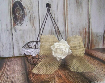 Flower Girl's Wedding Basket Chicken wire with Burlap Bow and Paper Rose