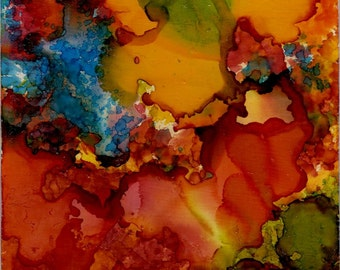 Alcohol Ink AIArt 4x5 abstract Original