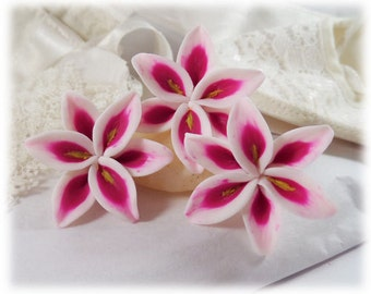 Stargazer Lily Hair Pins - Pink Lily Hair Accessories, Stargazer Lily Wedding Hair Flowers