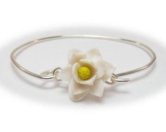 Magnolia Bracelet Sterling Silver Bangle - Magnolia Jewelry