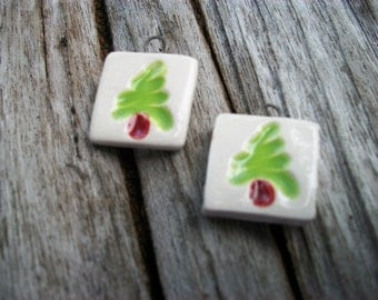 Ceramic Christmas Tree Charms Earring Pair or Small Pendants