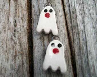 Ceramic Halloween Ghost Charms Earring Pair