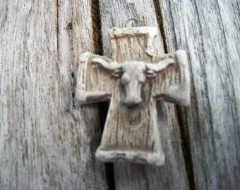Artist Made Southwest Cow Skull Cross Ceramic Pendant