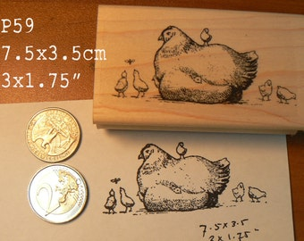 P59 Mother chicken with baby chicks rubber stamp