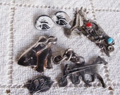 Vintage Silvertone And Pewter Jewelry FIndings Lot Of 6, Craft Supplies, Altered Art