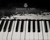 Piano Photograph, Black and White, Dark Art, Urban Decay, Urbex, Halloween Art, Abandoned Piano Photo
