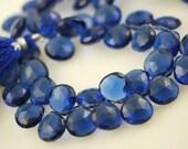 1/2 strand of navy blue hydro quartz  heart briolettes