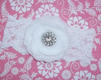 "White Flower Headband White Hair Clip 3.75"" Ranunculus Headband Rhinestone White Lace Headband Wedding Bridesmaid Flower Girl Headband Baby"