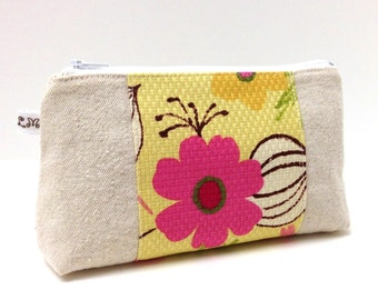 Cosmetic Makeup Zipper Pouch Clutch Purse Pink and Yellow Flowers on Natural Cotton