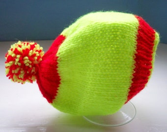 Child's pompom hat, fluo, vegan, knit hat, beanie, acid green and red by SpinningStreak