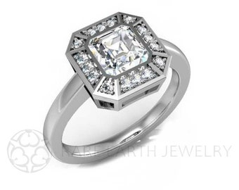 Asscher White Sapphire Engagement Ring Art Deco Ring Sapphire Ring Vintage Ring Conflict Free Diamonds 14K or Palladium
