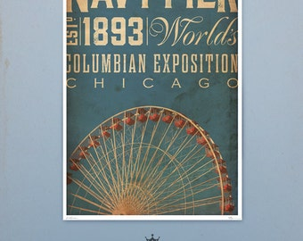 Chicago Navy Pier Ferris Wheel original graphic art illustration giclee archival signed artists print by stephen fowler