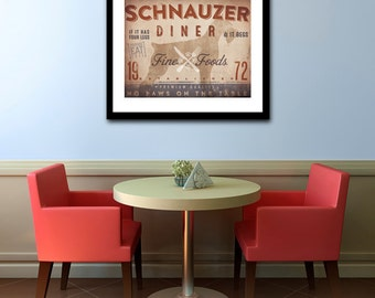 Schnauzer Diner Kitchen Chef dog illustration artwork UNFRAMED giclee signed print by Stephen Fowler