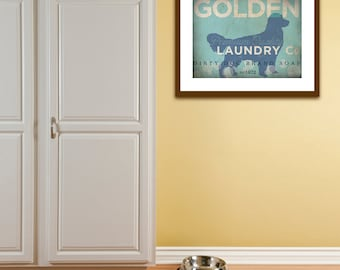 Golden Retriever dog laundry company laundry room artwork giclee archival signed artists print by Stephen Fowler Pick A Size