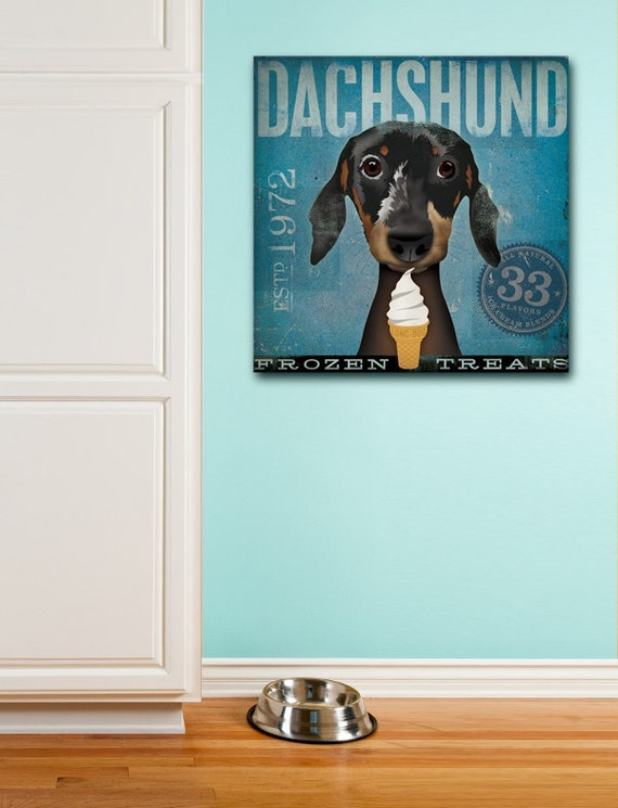 Dachshund Frozen Treats Company original illustration art gallery wrapped canvas by Stephen Fowler geministudio