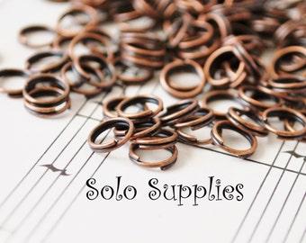 200 6mm Antiqued Copper Split Rings