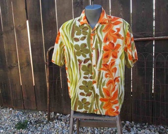 Jams World vintage Hawaiian Summer shirt Hibiscus Orange Lei watercolor shirt M
