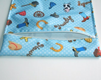Wet Bag for Cloth Diapering on the Go, Blue Cowboy Print Zippered Pouch, PUL, Cloth Diaper Accessory, Diaper Bag Accessory