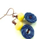 Royal Blue Vintage Button Earrings with Bright Yellow Beads