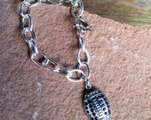 Football Charm Bracelet with Sparkle! Large, shiny silver chain links with toggle clasp