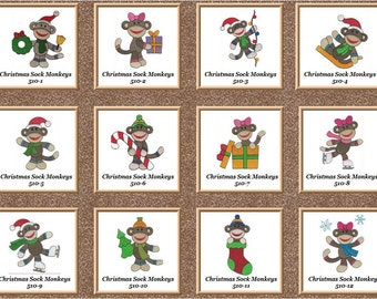 NEW CHRISTMAS Sock Monkeys 12 machine embroidered quilt squares