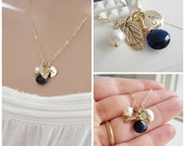 Sapphire Blue bridesmaid necklace, Gold initial necklace, personalized leaf necklace with freshwater pearl navy blue gold bridesmaid jewelry