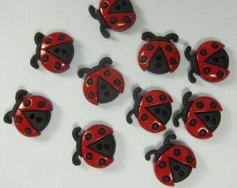 Ladybugs 2-Holed Novelty Buttons