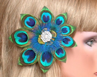 Peacock Bride Hair Piece - Vintage Rhinestone and Pearl   -Ready to Ship