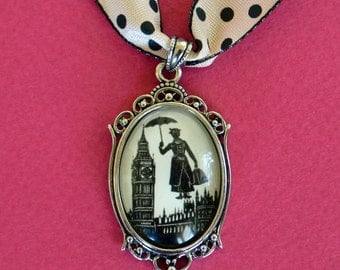 Sale 20% Off // MARY POPPINS Choker Necklace, pendant on ribbon - Silhouette Jewelry // Coupon Code SALE20