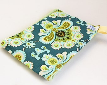 Organic Burp Cloth with Amy Butler Belle Fabric in Teal and Green