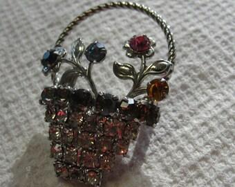 Rhinestone Basket of Flowers Brooch REDUCED
