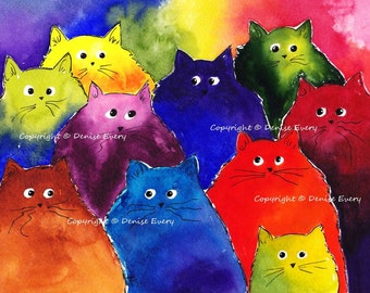 Abstract Maine Coon Kitties Very Colorful Two-Toned Cat Art Print Black Rainbow White Background Choice (Free US Shipping)