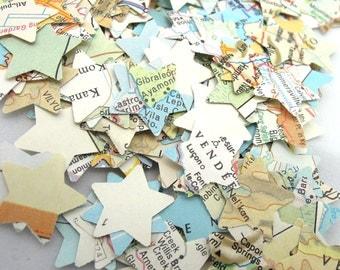 Mini Vintage Atlas Map Star Confetti - Set of 50 Star Confetti