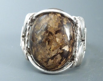 Handcrafted Sterling Silver Bronzite Wire Wrapped Ring