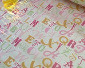 SALE Alphabet SLICKER LAMINATED Fabric,  Letters in Pink- 1 Yard or by the yard