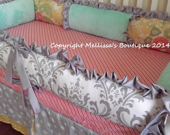 Custom Grey with Coral Mint & Yellow Complete 3-Piece Boutique Crib Bedding Set with Ruffles MADE To ORDER
