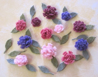 Tiny Felt Flowers and Leaves Berry Assortment