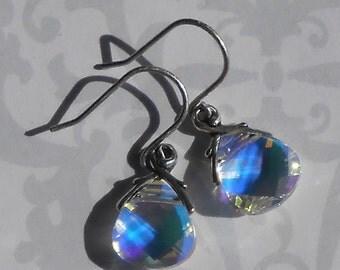 Sunlight Earrings / Swarovski Crystal Antiqued Silver Wedding Bridal