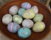 Shabby Cottage Chic Primitive Easter Eggs, Pastel with designs Paper Mache Eggs, rustic and distressed