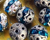 8mm - 6 pcs - Silver Patina Teal Crystal Round Rhinestone Beads - Choice of Oxidized or Bright Silver - Patina Queen