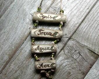 4 Elements Terra Ignis Aqua Aer Latin Peridot Bead Hemp Rustic Twig Holly - Ilex sp - Wooden Necklace by Tanja Sova