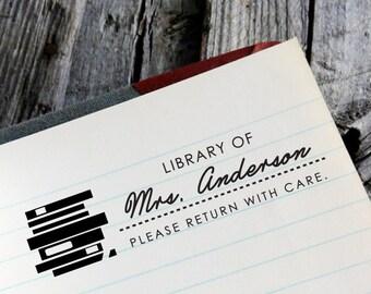 "CUSTOM ADDRESS STAMP - Eco Friendly & self inking return address stamp, personalized stamper, rsvp address stamp  ""Library4"""