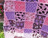 Rag Quilt, MADE TO ORDER, Cowgirl, Pink, Purple, Horses, Guitars, Backing Fabric Options, Rag Lap Quilt, Horse Quilt, Girl Rag Quilt